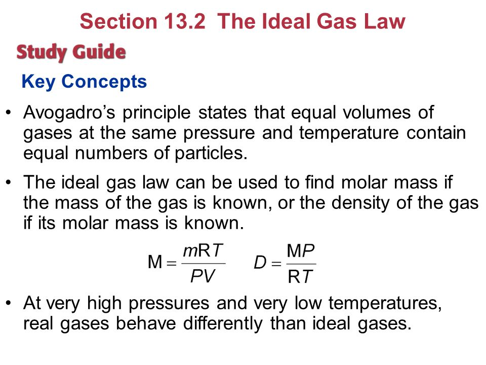 Key Concepts Avogadro's principle states that equal volumes of gases at the same pressure and temperature contain equal numbers of particles. The idea