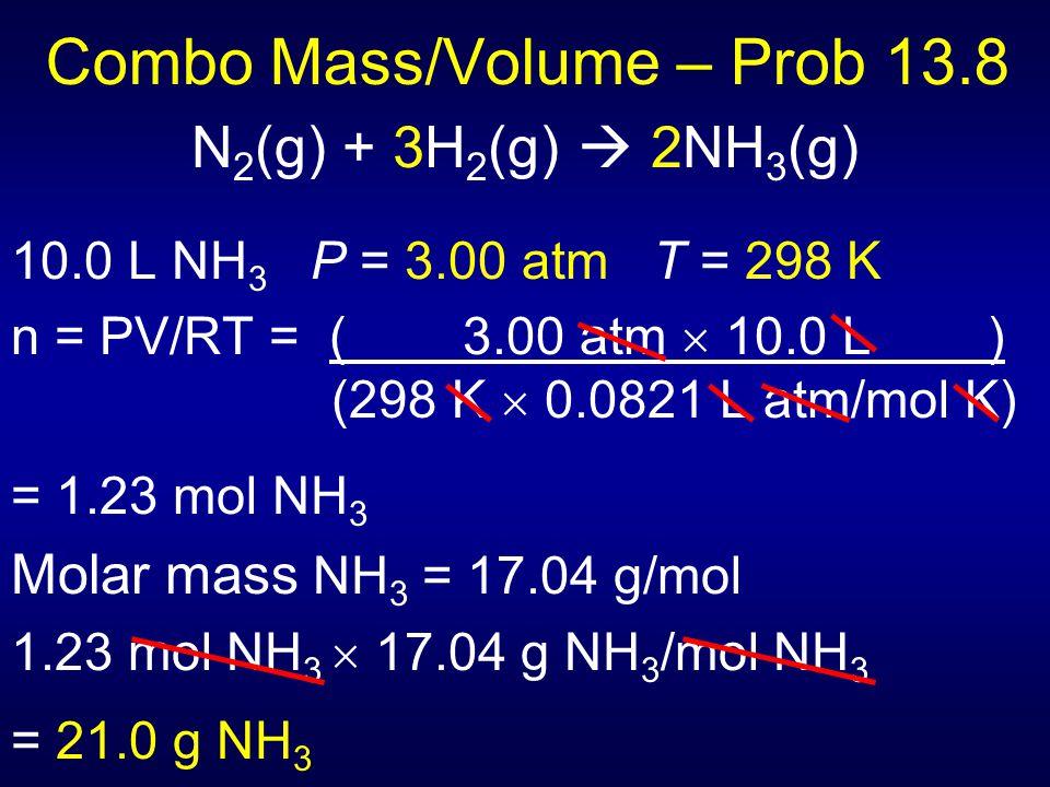 Combo Mass/Volume – Prob 13.8 N 2 (g) + 3H 2 (g)  2NH 3 (g) 10.0 L NH 3 P = 3.00 atm T = 298 K n = PV/RT = ( 3.00 atm  10.0 L ) (298 K  0.0821 L at