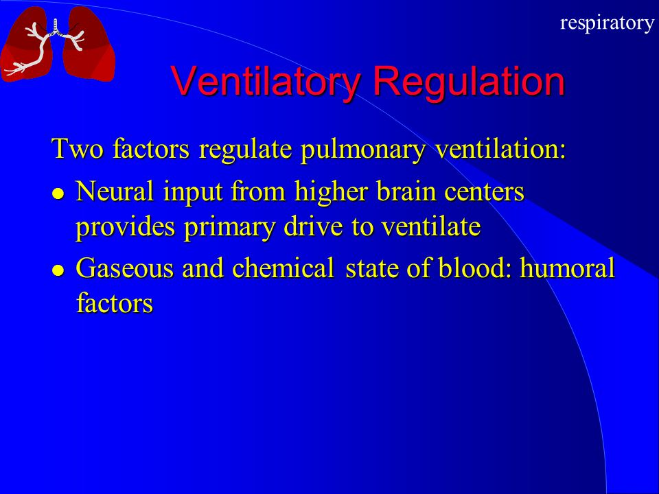 respiratory Ventilatory Regulation Two factors regulate pulmonary ventilation: Neural input from higher brain centers provides primary drive to ventilate Neural input from higher brain centers provides primary drive to ventilate Gaseous and chemical state of blood: humoral factors Gaseous and chemical state of blood: humoral factors
