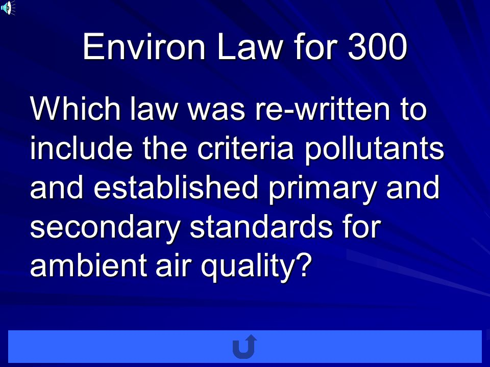 Environ Laws for 200 Which law was the first national legislation in the US aimed at air pollution control.Which law was the first national legislation in the US aimed at air pollution control.
