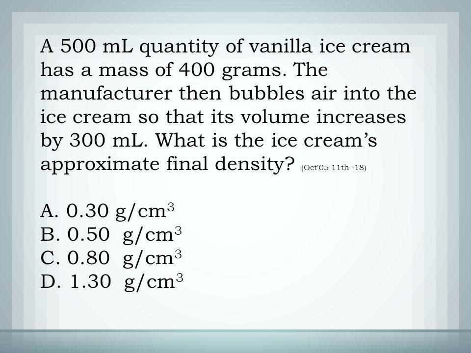 A. 0.30 g/cm 3 B. 0.50 g/cm 3 C. 0.80 g/cm 3 D. 1.30 g/cm 3