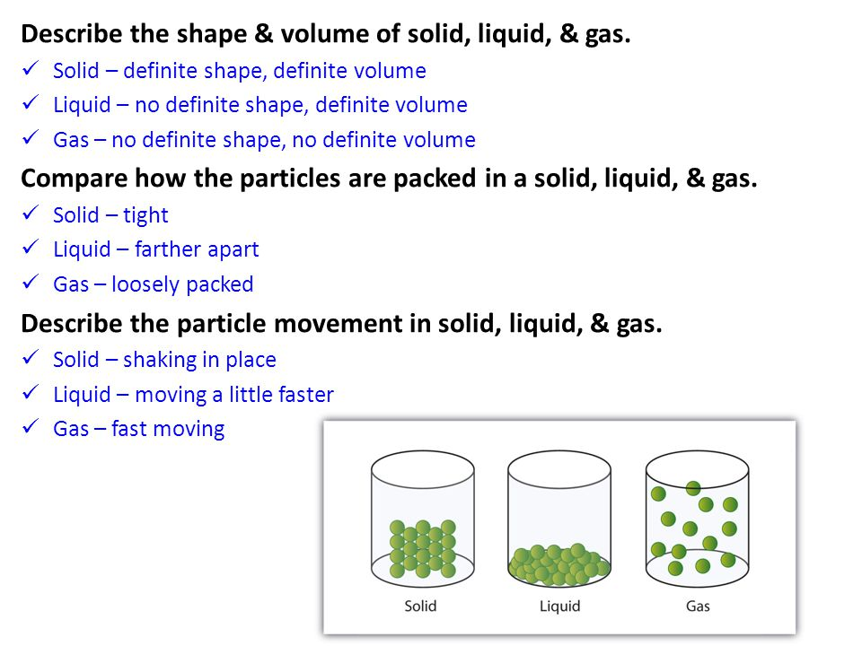 Describe the shape & volume of solid, liquid, & gas.