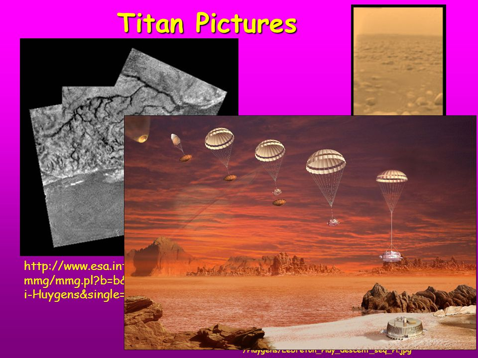 Titan Pictures http://esamultimedia.esa.int/images/Science/CONFERENCE /Huygens/Lebreton_Huy_descent_seq_H.jpg http://www.esa.int/esa- mmg/mmg.pl?b=b&type=I&mission=Cassini- Huygens&single=y&start=90&size=b http://www.esa.int/esa- mmg/mmg.pl?b=b&type=I&mission=Cassin i-Huygens&single=y&start=45&size=b