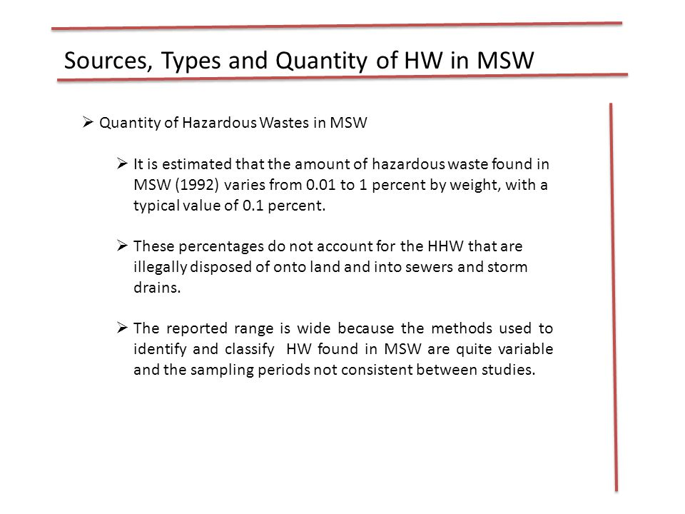 Sources, Types and Quantity of HW in MSW  Quantity of Hazardous Wastes in MSW  It is estimated that the amount of hazardous waste found in MSW (1992) varies from 0.01 to 1 percent by weight, with a typical value of 0.1 percent.