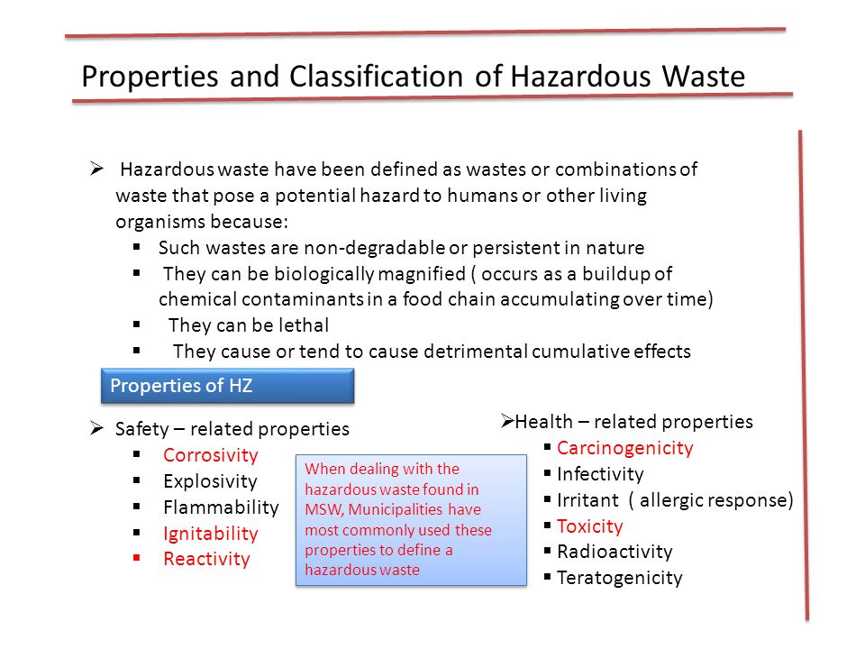 Properties and Classification of Hazardous Waste Definitions Given by the U.S.