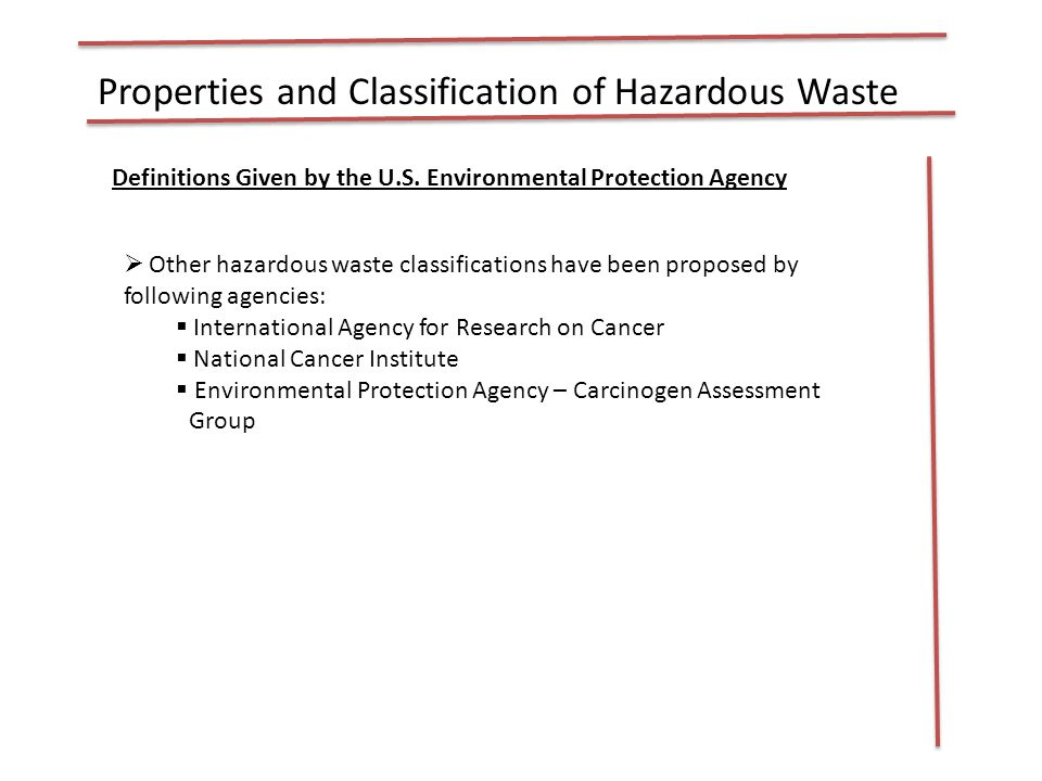 Sources, Types and Quantity of HW in MSW  The sources of hazardous waste found in MSW are :  Residential sources  Commercial Sources  Institutional  Construction and demolition  Municipal services  Treatment plant sites  Typical hazardous household products are reported in Table 5-3  The relative distribution of hazardous wastes are presented in table 5-4  There are three types of hazardous wastes generators  Small – quantity generator  Large – quantity generator  Conditionally exempt generator