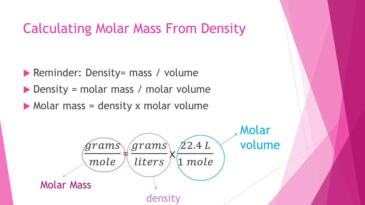 Calculating Molar Mass From Density Molar Mass density Molar volume