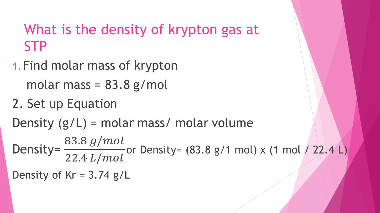 What is the density of krypton gas at STP