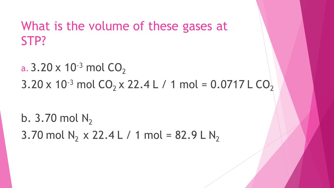 What is the volume of these gases at STP.a.