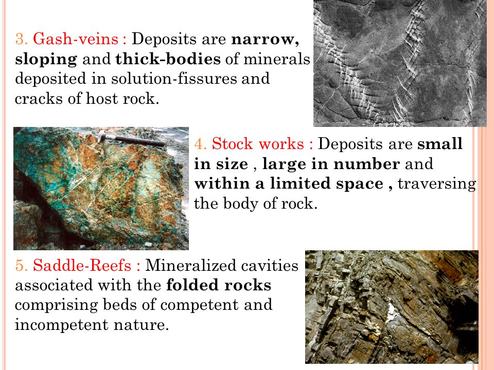 3. Gash-veins : Deposits are narrow, sloping and thick-bodies of minerals deposited in solution-fissures and cracks of host rock. 5. Saddle-Reefs : Mi