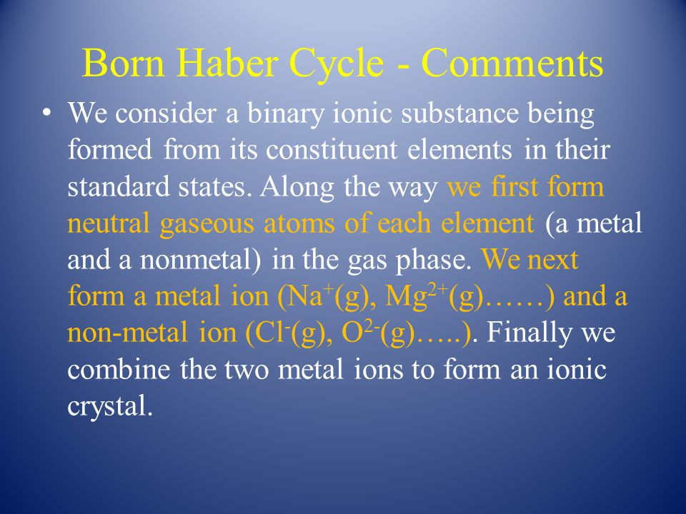 Born Haber Cycle For the case of NaCl(s) formation you should be able to identify the signs of ∆H 1, ∆H 2, ∆H 3 and ∆H 5.