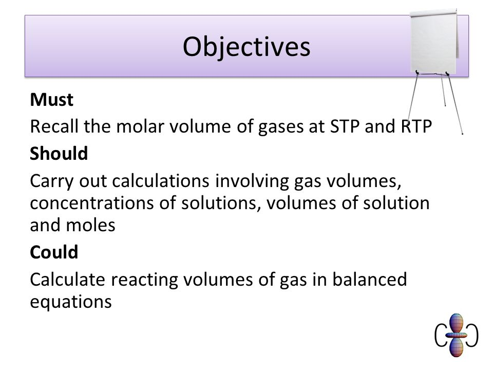 Objectives Must Recall the molar volume of gases at STP and RTP Should Carry out calculations involving gas volumes, concentrations of solutions, volumes of solution and moles Could Calculate reacting volumes of gas in balanced equations