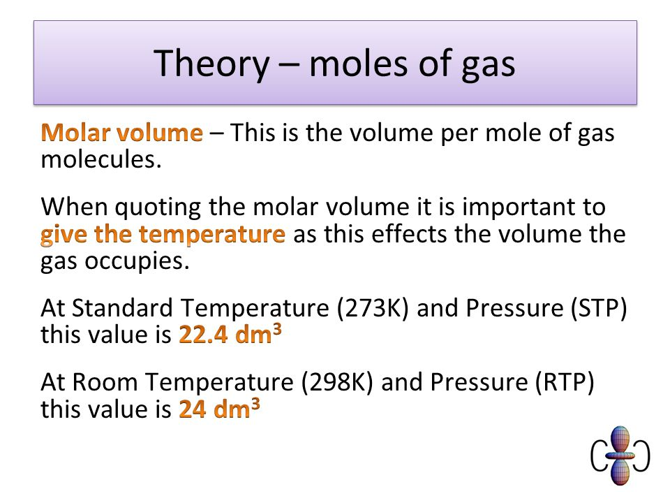 Summary Recall the molar volume of gases at STP and RTP Calculate reacting volumes of gas in balanced equations Carry out calculations involving gas volumes, concentrations of solutions, volumes of solution and moles