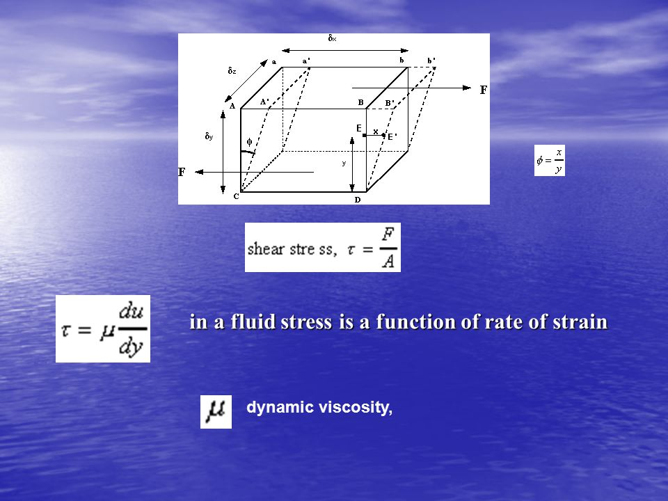 dynamic viscosity, in a fluid stress is a function of rate of strain