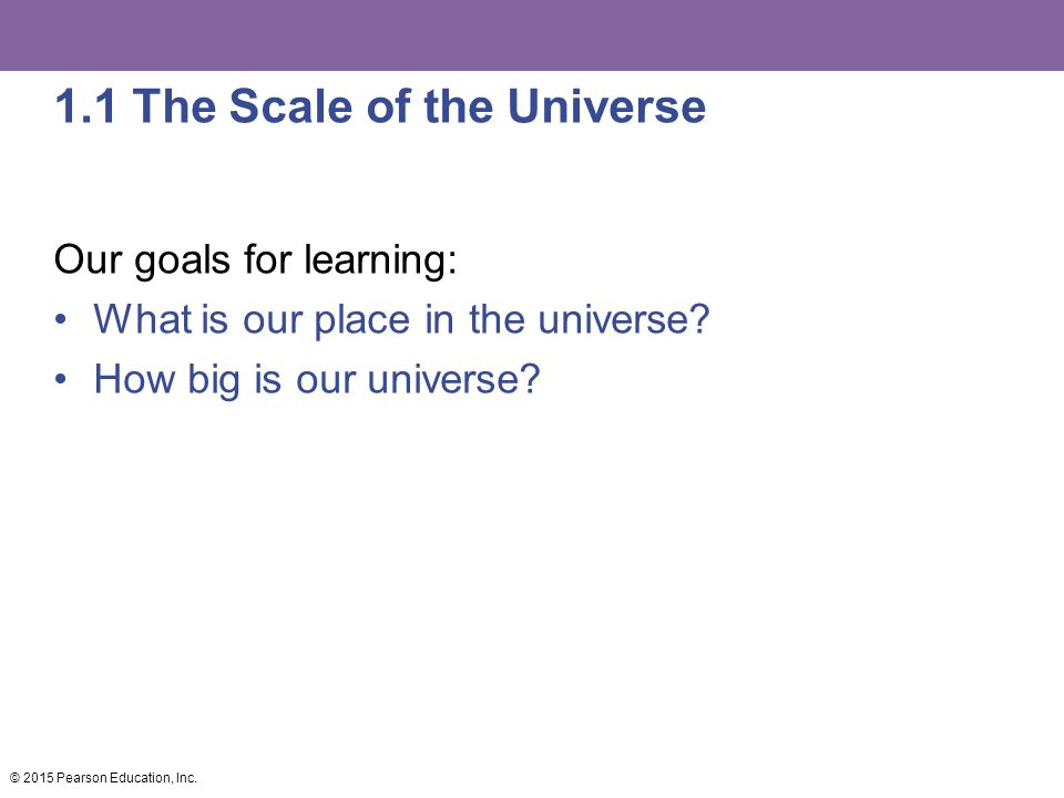 1.1 The Scale of the Universe Our goals for learning: What is our place in the universe.