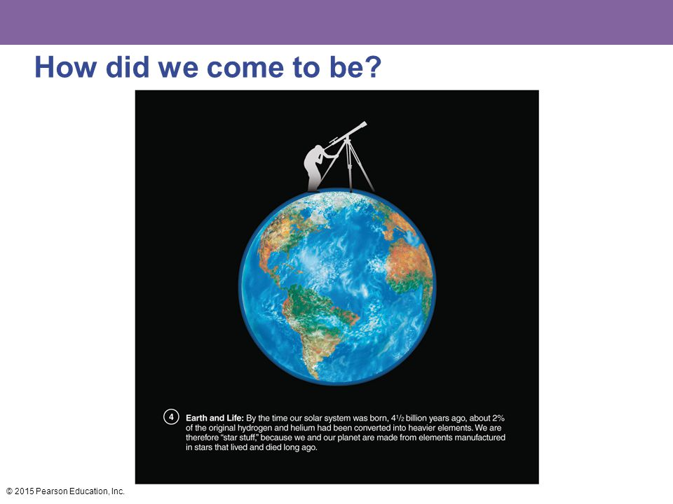 How did we come to be? © 2015 Pearson Education, Inc.