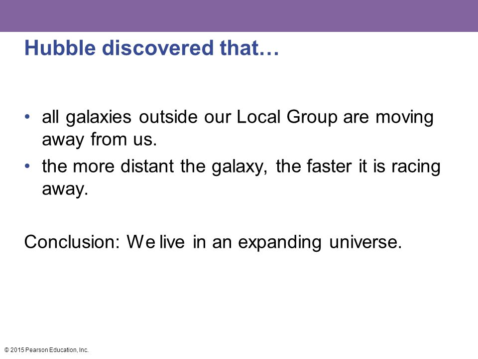 Hubble discovered that… all galaxies outside our Local Group are moving away from us.