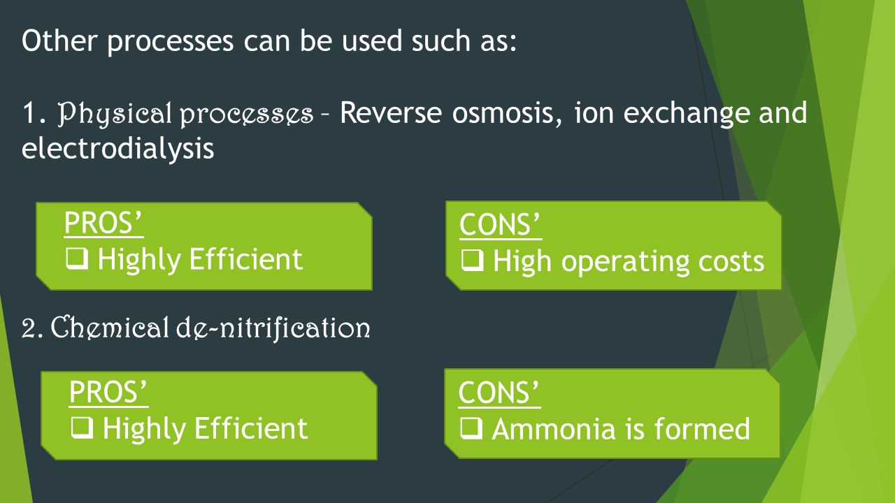 Other processes can be used such as: 1. Physical processes – Reverse osmosis, ion exchange and electrodialysis 2. Chemical de-nitrification PROS'  Hi