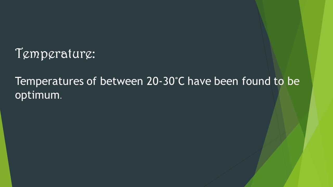 Temperature: Temperatures of between 20-30 ˚ C have been found to be optimum.