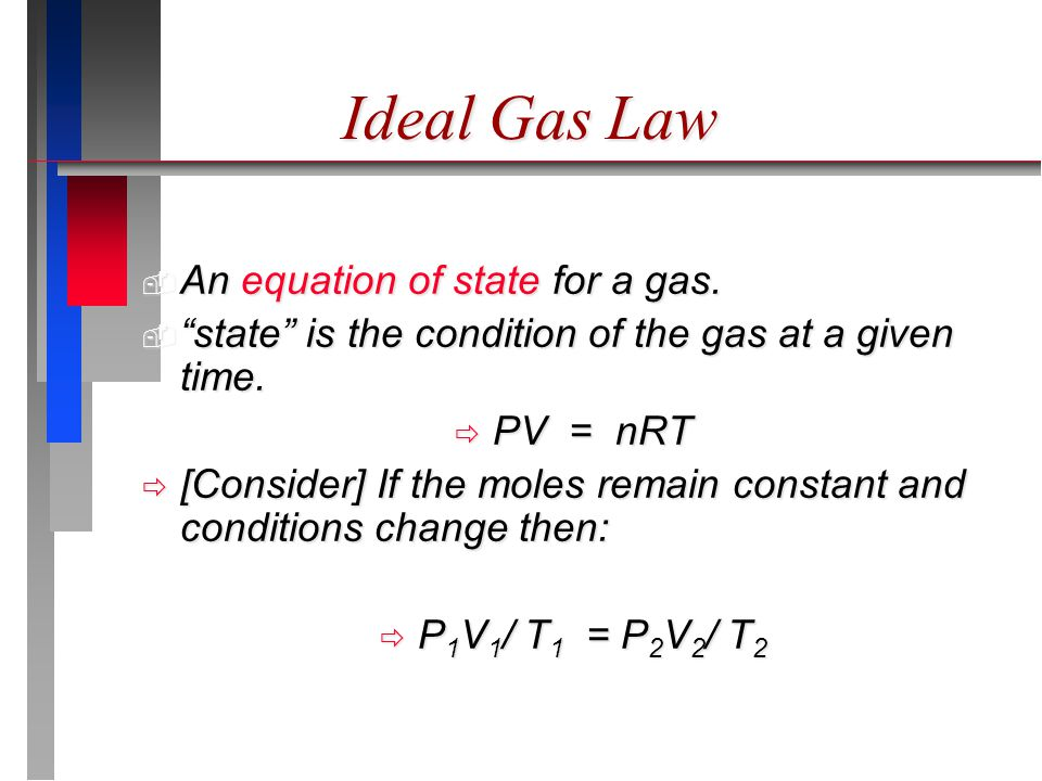 Ideal Gas Law  An equation of state for a gas.