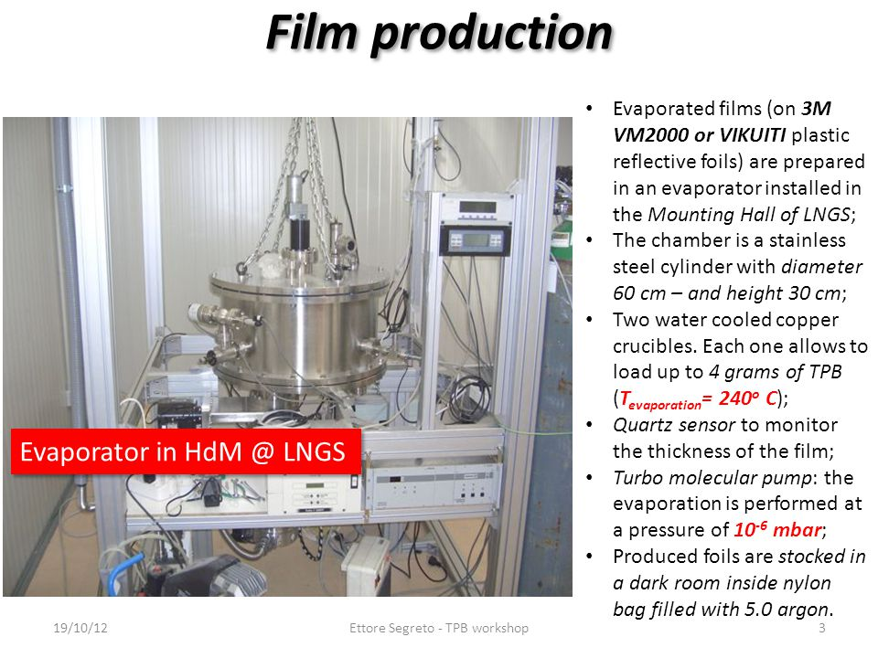 Film production Evaporated films (on 3M VM2000 or VIKUITI plastic reflective foils) are prepared in an evaporator installed in the Mounting Hall of LN