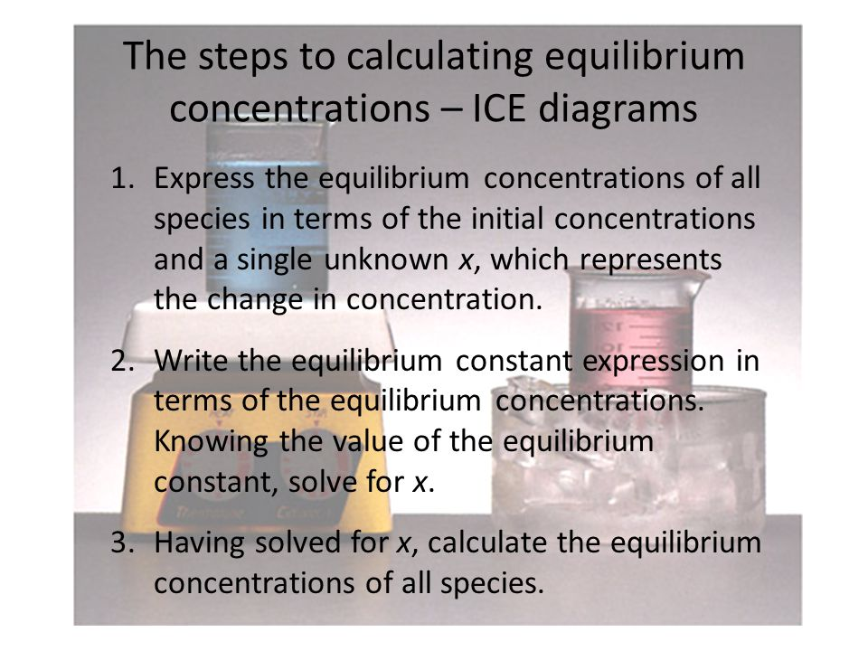 The steps to calculating equilibrium concentrations – ICE diagrams 1.Express the equilibrium concentrations of all species in terms of the initial concentrations and a single unknown x, which represents the change in concentration.