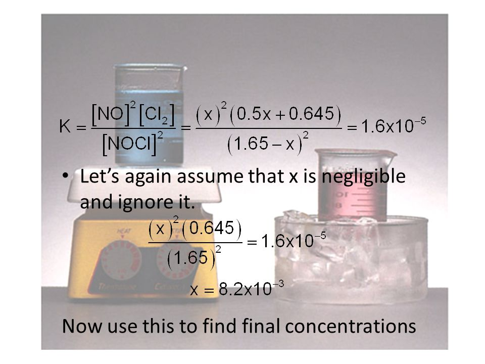 Let's again assume that x is negligible and ignore it. Now use this to find final concentrations