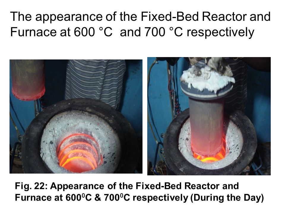 11 Fig. 22: Appearance of the Fixed-Bed Reactor and Furnace at 600 0 C & 700 0 C respectively (During the Day) The appearance of the Fixed-Bed Reactor