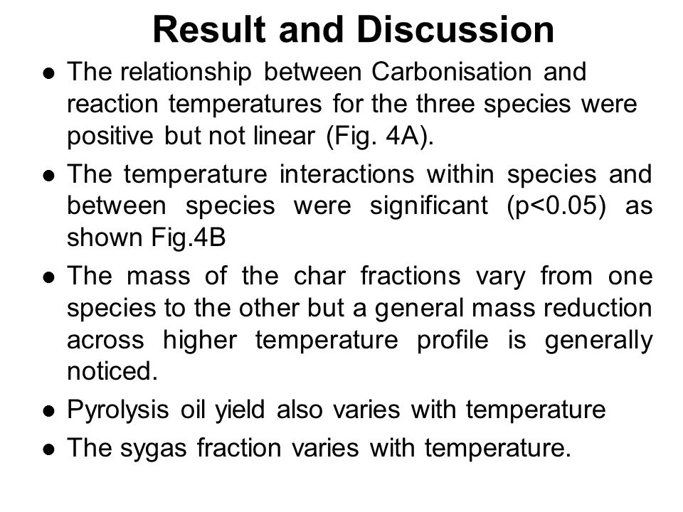 Result and Discussion The relationship between Carbonisation and reaction temperatures for the three species were positive but not linear (Fig.