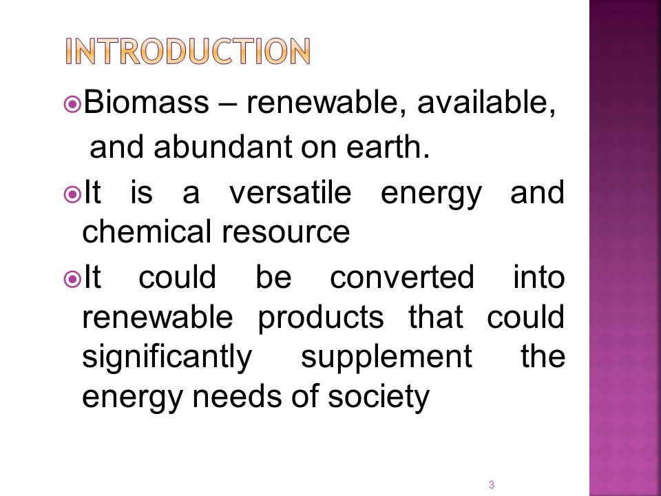  Biomass – renewable, available, and abundant on earth.  It is a versatile energy and chemical resource  It could be converted into renewable produ