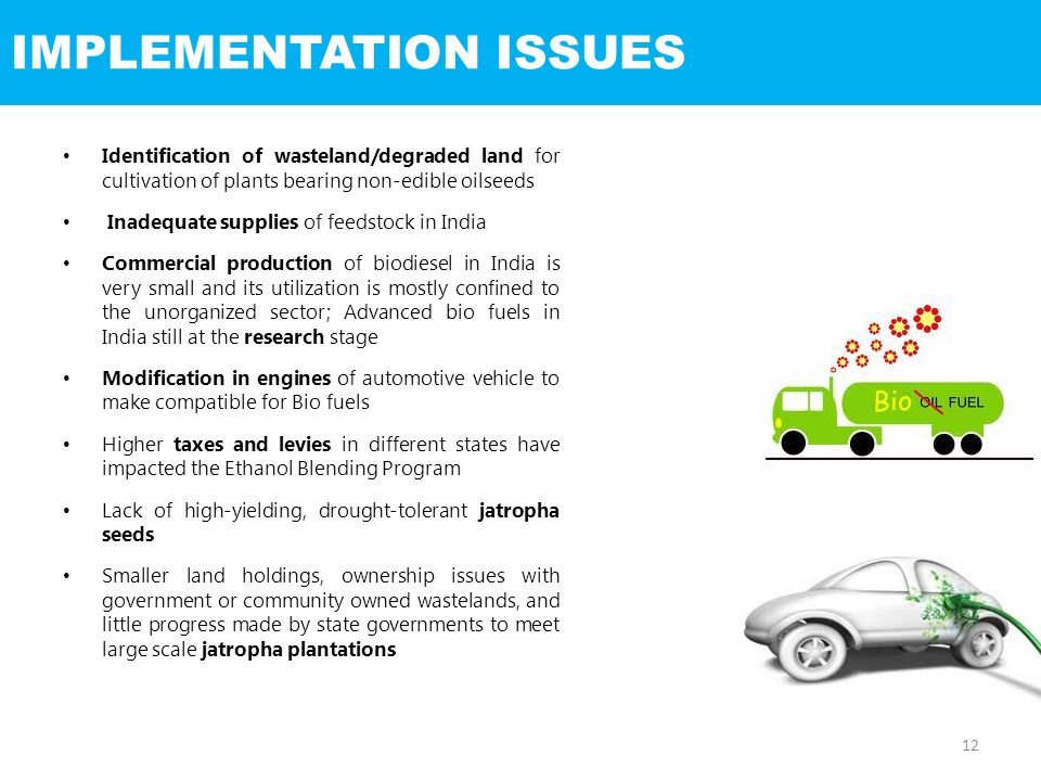 IMPLEMENTATION ISSUES Identification of wasteland/degraded land for cultivation of plants bearing non-edible oilseeds Inadequate supplies of feedstock in India Commercial production of biodiesel in India is very small and its utilization is mostly confined to the unorganized sector; Advanced bio fuels in India still at the research stage Modification in engines of automotive vehicle to make compatible for Bio fuels Higher taxes and levies in different states have impacted the Ethanol Blending Program Lack of high-yielding, drought-tolerant jatropha seeds Smaller land holdings, ownership issues with government or community owned wastelands, and little progress made by state governments to meet large scale jatropha plantations 12