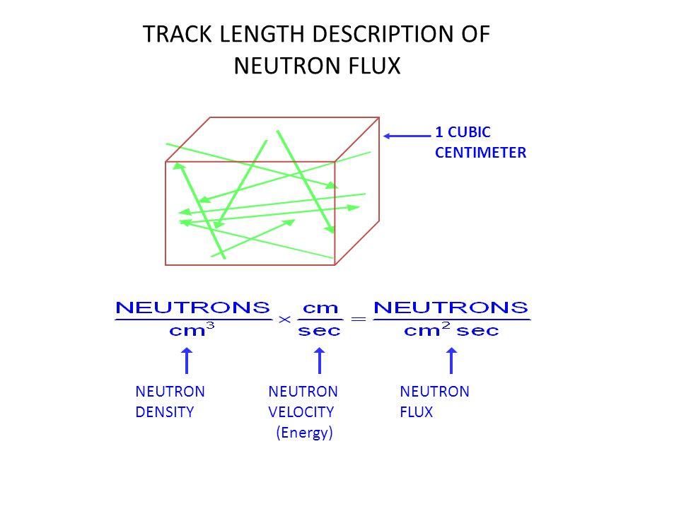 TRACK LENGTH DESCRIPTION OF NEUTRON FLUX 1 CUBIC CENTIMETER NEUTRON DENSITY NEUTRON VELOCITY (Energy) NEUTRON FLUX