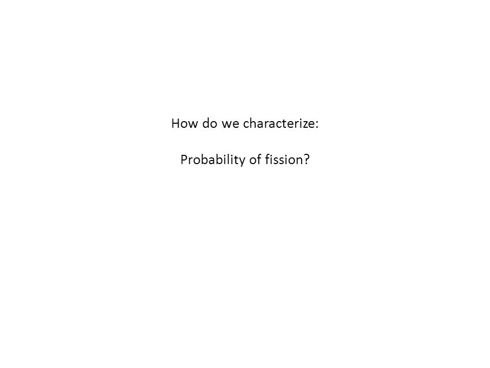How do we characterize: Probability of fission