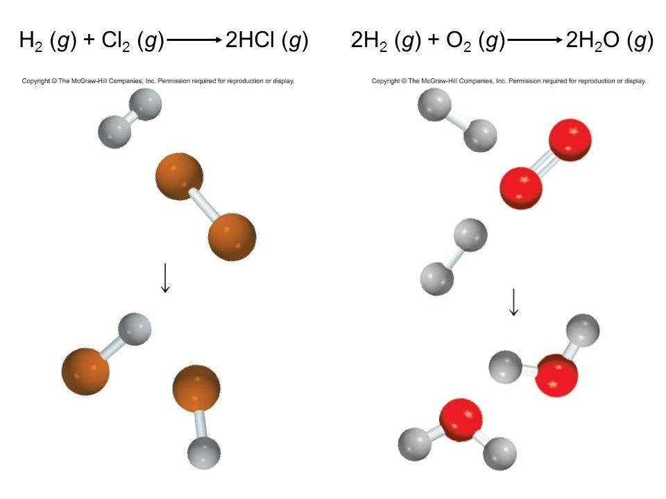38 H 2 (g) + Cl 2 (g) 2HCl (g)2H 2 (g) + O 2 (g) 2H 2 O (g)