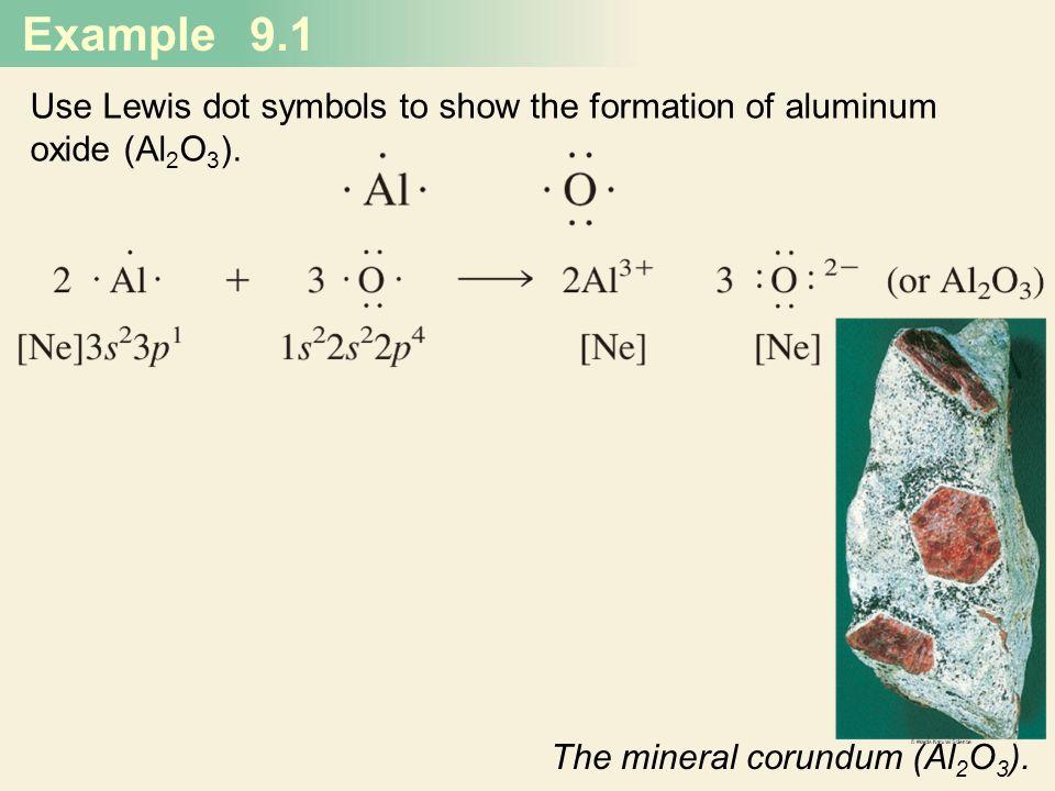 Example 9.1 Use Lewis dot symbols to show the formation of aluminum oxide (Al 2 O 3 ). The mineral corundum (Al 2 O 3 ).