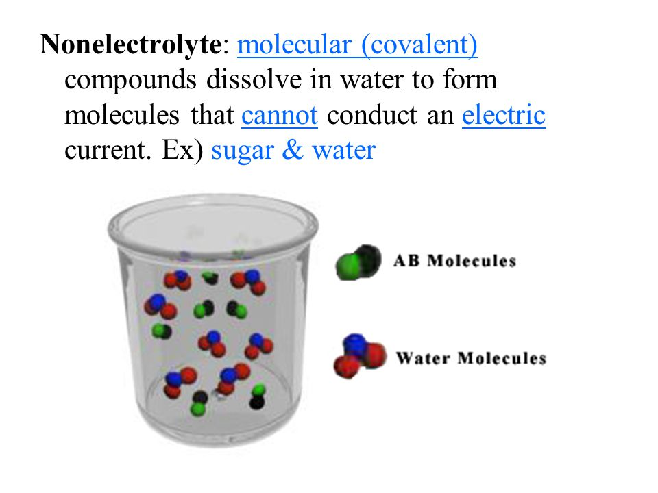 Nonelectrolyte: molecular (covalent) compounds dissolve in water to form molecules that cannot conduct an electric current.