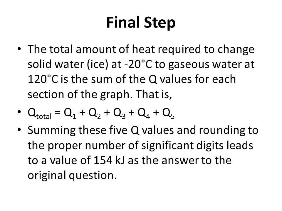 Final Step The total amount of heat required to change solid water (ice) at -20°C to gaseous water at 120°C is the sum of the Q values for each sectio