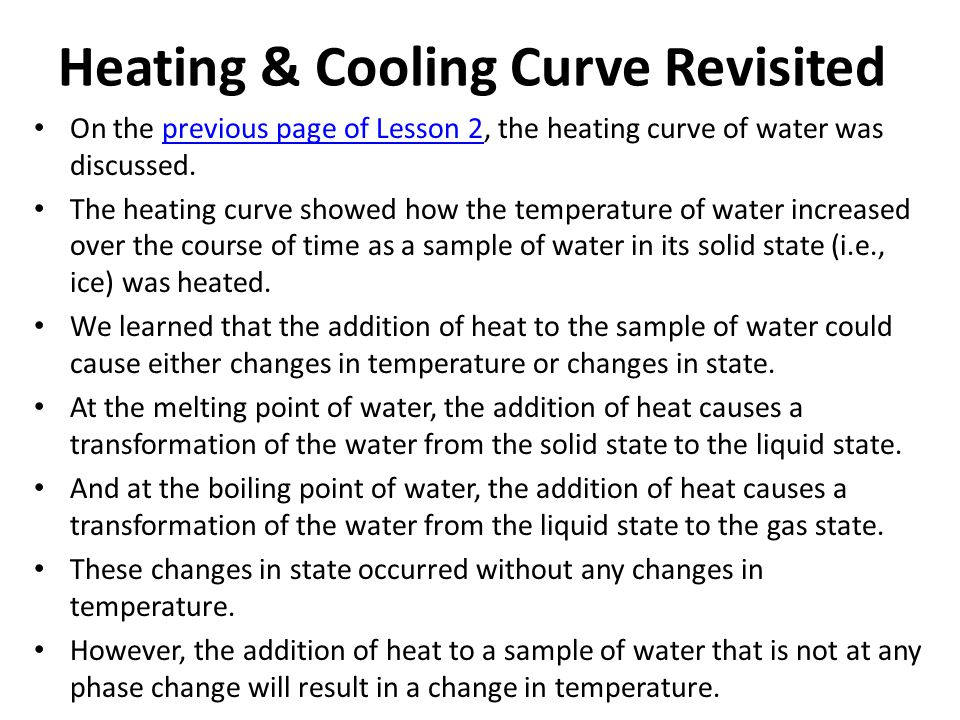 Heating & Cooling Curve Revisited On the previous page of Lesson 2, the heating curve of water was discussed.previous page of Lesson 2 The heating curve showed how the temperature of water increased over the course of time as a sample of water in its solid state (i.e., ice) was heated.