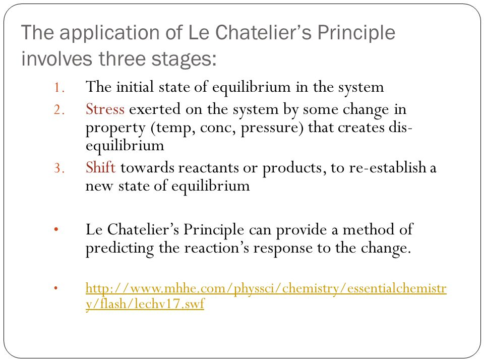 The application of Le Chatelier's Principle involves three stages: 1. The initial state of equilibrium in the system 2. Stress exerted on the system b