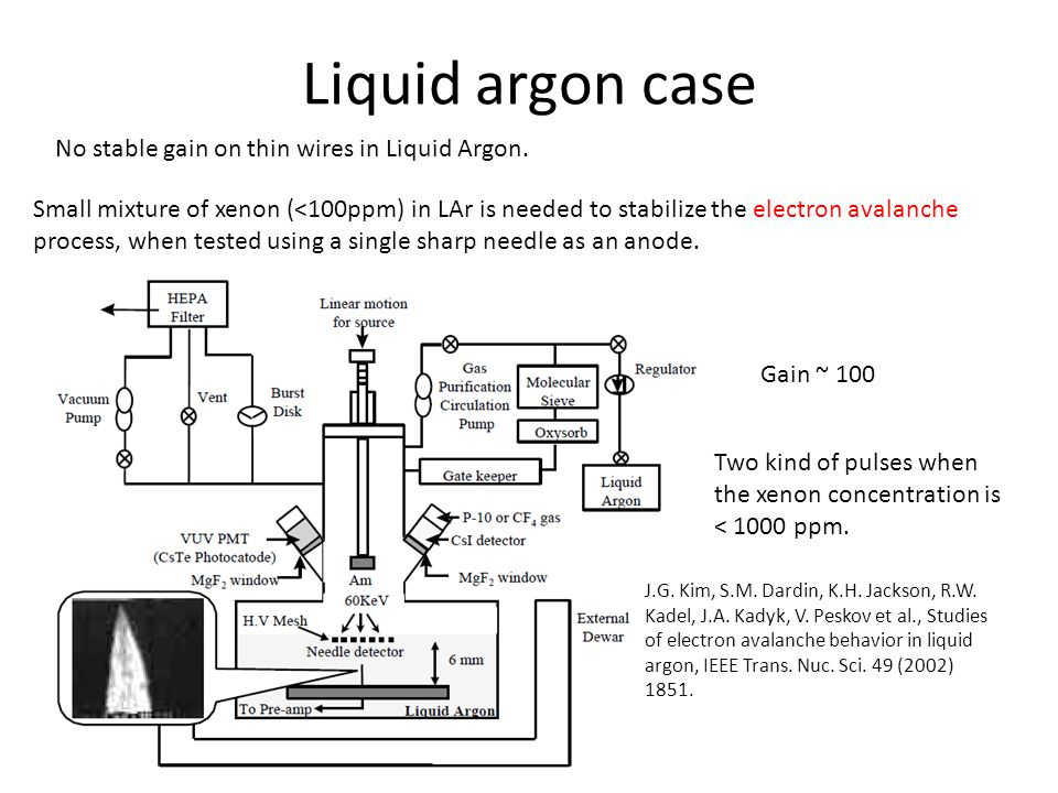 Liquid argon case No stable gain on thin wires in Liquid Argon. Small mixture of xenon (<100ppm) in LAr is needed to stabilize the electron avalanche