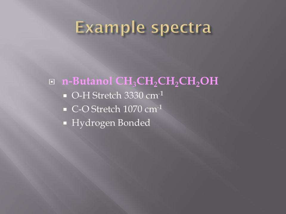 n-Butanol CH 3 CH 2 CH 2 CH 2 OH  O-H Stretch 3330 cm -1  C-O Stretch 1070 cm -1  Hydrogen Bonded