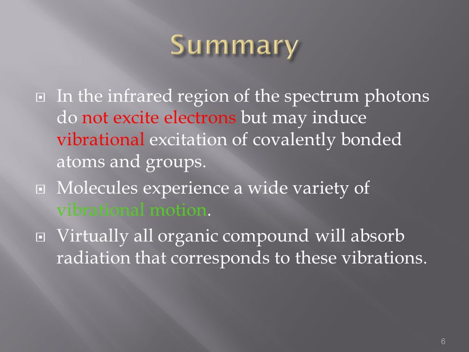  In the infrared region of the spectrum photons do not excite electrons but may induce vibrational excitation of covalently bonded atoms and groups.