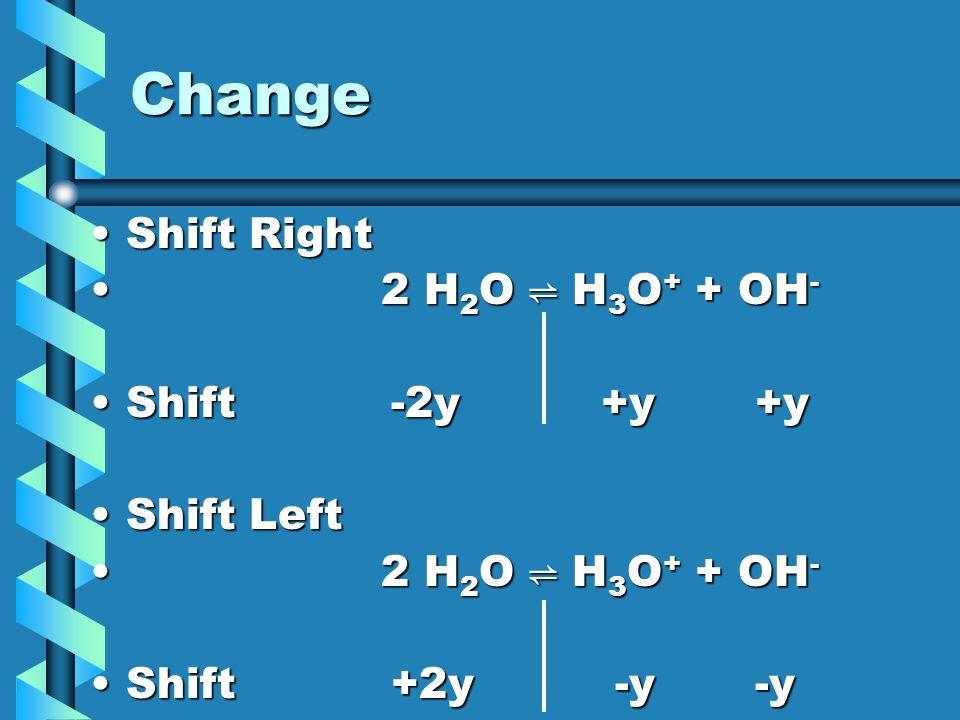 Change Shift RightShift Right 2 H 2 O ⇌ H 3 O + + OH - 2 H 2 O ⇌ H 3 O + + OH - Shift -2y +y +yShift -2y +y +y Shift LeftShift Left 2 H 2 O ⇌ H 3 O +