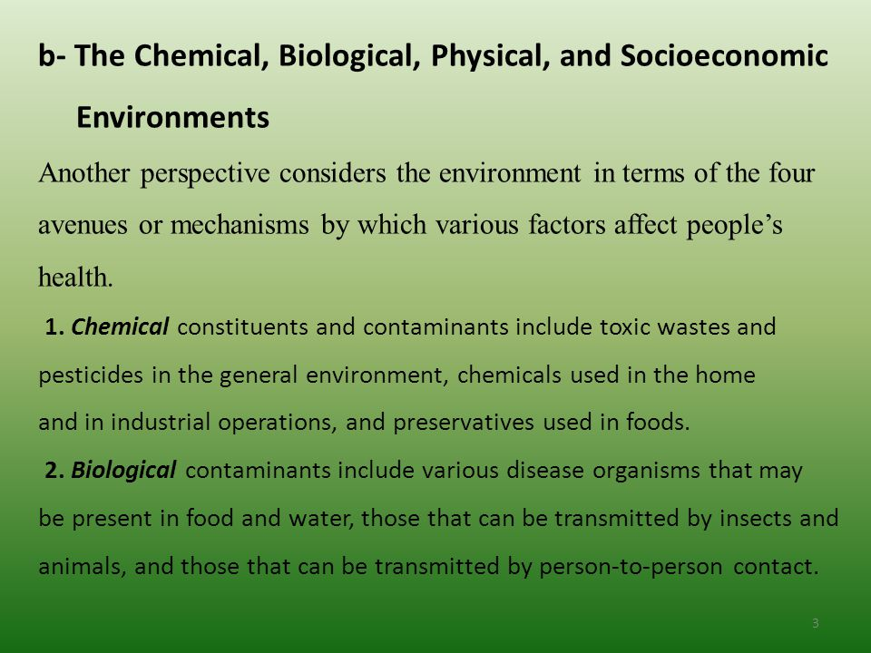 b- The Chemical, Biological, Physical, and Socioeconomic Environments Another perspective considers the environment in terms of the four avenues or mechanisms by which various factors affect people's health.