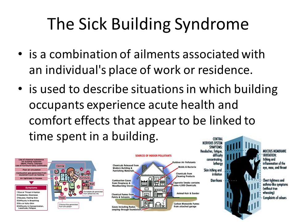 The Sick Building Syndrome is a combination of ailments associated with an individual s place of work or residence.