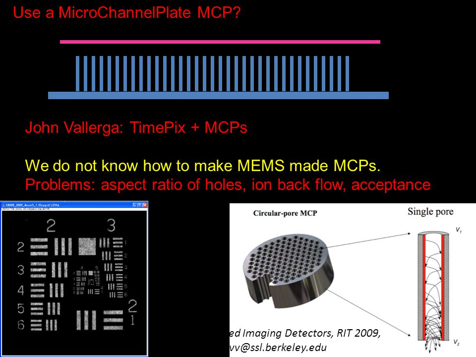 MCP (in vacuum) John Vallerga: TimePix + MCPs We do not know how to make MEMS made MCPs.
