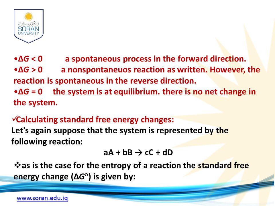 www.soran.edu.iq ΔG < 0 a spontaneous process in the forward direction. ΔG > 0 a nonspontaneuos reaction as written. However, the reaction is spontane