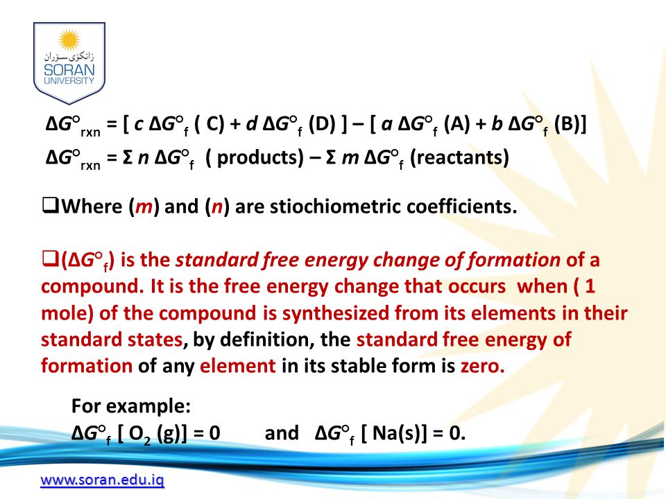www.soran.edu.iq ΔG° rxn = [ c ΔG° f ( C) + d ΔG° f (D) ] – [ a ΔG° f (A) + b ΔG° f (B)] ΔG° rxn = Σ n ΔG° f ( products) – Σ m ΔG° f (reactants)  Where (m) and (n) are stiochiometric coefficients.