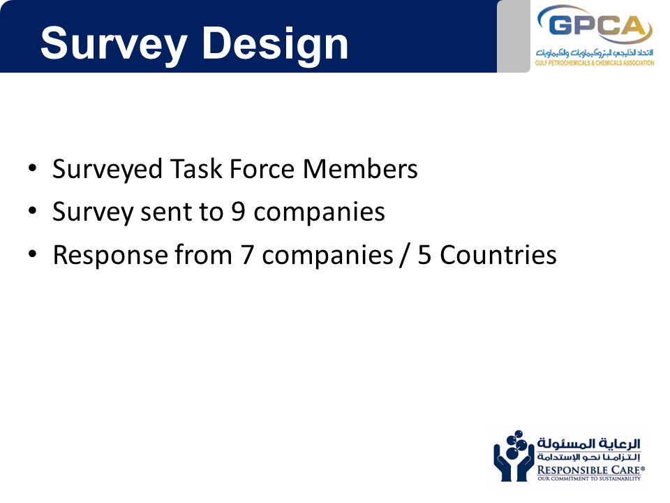 Survey Design Surveyed Task Force Members Survey sent to 9 companies Response from 7 companies / 5 Countries