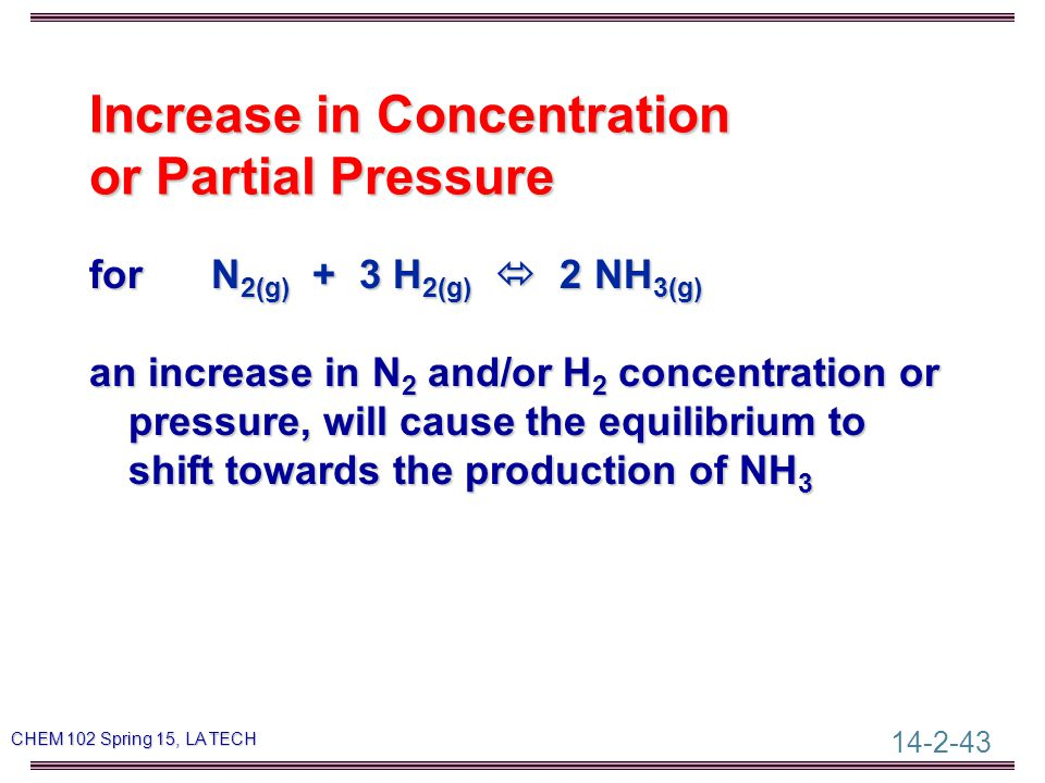 14-2-43 CHEM 102 Spring 15, LA TECH Increase in Concentration or Partial Pressure for N 2(g) + 3 H 2(g)  2 NH 3(g) an increase in N 2 and/or H 2 concentration or pressure, will cause the equilibrium to shift towards the production of NH 3